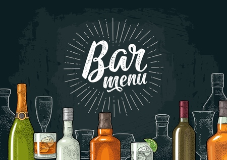 Template for Bar menu alcohol drink. Illustration