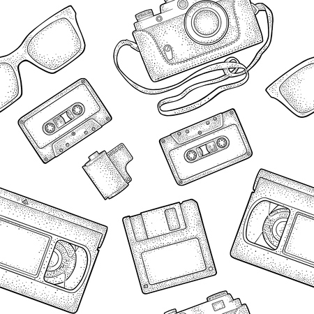 Seamless pattern retro technology object. Vintage vector black engraving illustration