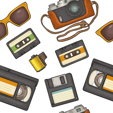 Seamless pattern retro technology object. Vintage vector color engraving illustration