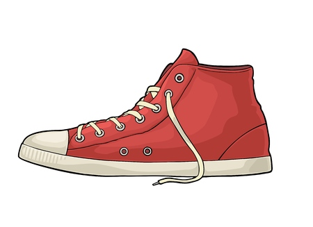 Retro red sneakers. Vintage color engraving