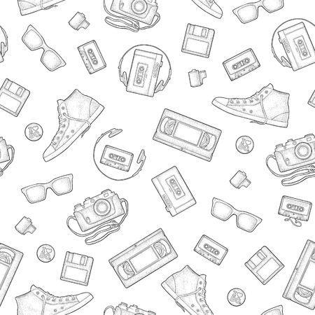 Seamless pattern retro technology object. Vintage vector black engraving illustration