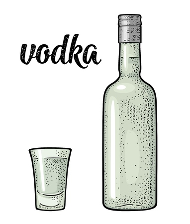 Glass and bottle. Calligraphic handwriting lettering vodka.