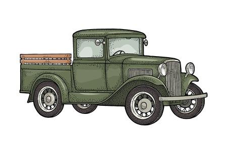 Camioneta retro. Vista lateral. Grabado negro vintage