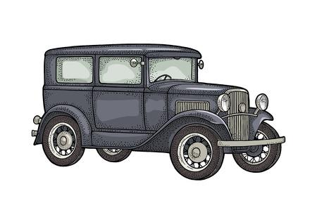 Retro car sedan. Side view. Vintage black engraving