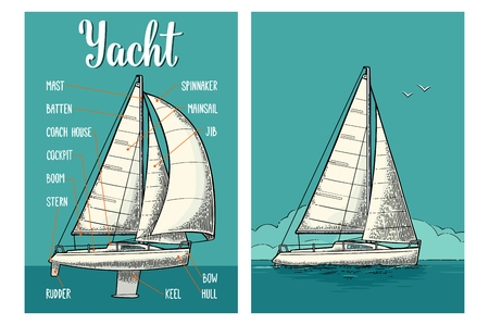 Two vertical posters for yacht club with type sails. Engraving Imagens - 106902941