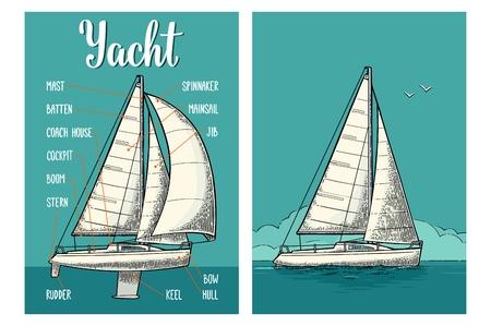 Zwei vertikale Plakate für Yachtclub mit Segel. Gravur