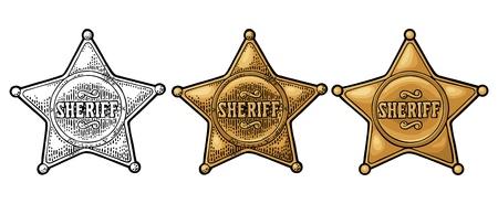 Estrella del sheriff. Ilustración de grabado de vector de color vintage para cartel occidental, web, placa de policía. Aislado sobre fondo blanco.