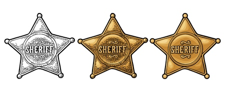 Sheriff star. Vintage color vector engraving illustration for western poster, web, police badge. Isolated on white background. Stok Fotoğraf - 104346229