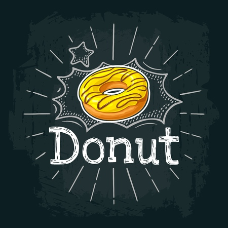 Donut with yellow icing and chocolate sprinkles. Vector color flat illustration for poster and menu bakery shop. Isolated on black chalkboard with vintage white chalk engraving ray, lettering, bubble