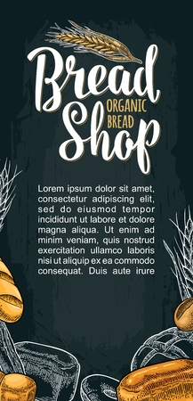Vertical poster for bread organic shop with lettering. Isolated on the white background. Vector color hand drawn vintage engraving illustration for label, menu bakery shop.