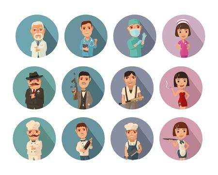 Establecer icono personas diferentes profesiones. Médico, cocinero, chef, camarera, mafioso, gángster, prostituta. Vector icono plano con sombra en el círculo de color
