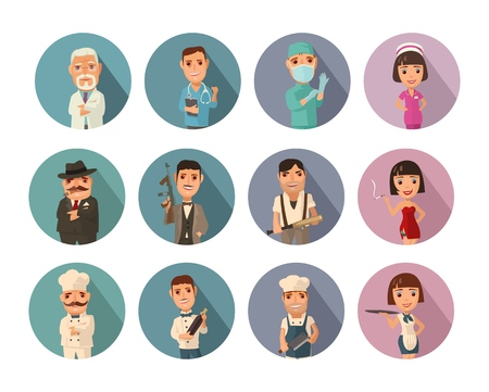 Set icon people different professions. Doctor, cook man, chef, waitress, mafia don, gangster, prostitute. Vector flat icon with shadow on color circle Çizim