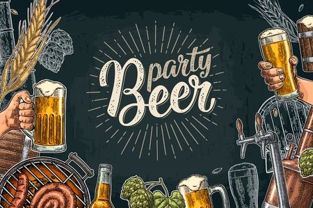 Horizontal poster set with tap, glass, bottle, hop branch with leaf, ear of barley, barrel, tanks from brewery factory. Party Beer lettering with rays. Vintage vector color engraving illustration Stok Fotoğraf - 104652901