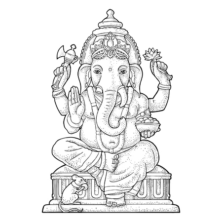 Ganpati with mouse for poster Ganesh Chaturthi. Engraving vintage vector black illustration. Isolated on white background. Hand drawn design element