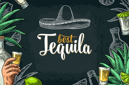 Poster with hand holding glass, sombrero, bottle, salt, agave, lime whole and slice. Best Tequila lettering. Vintage color and white vector engraving illustration on dark background. Illustration