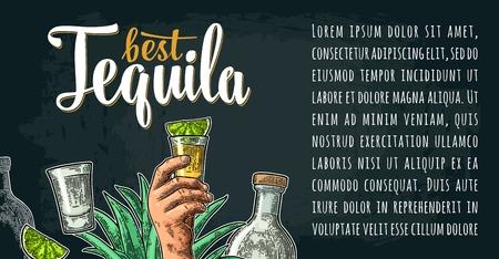 Horizontal poster with hand holding glass, bottle, salt, agave, slice lime. Best Tequila lettering. Vintage color and white vector engraving illustration on dark background.