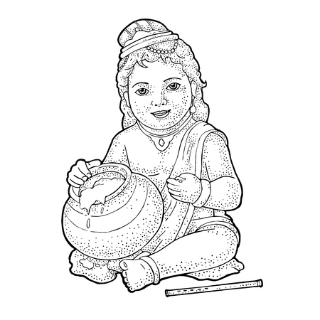 Sitting lord Krishna with pot and flute for poster Happy Janmashtami festival. Engraving vintage vector black illustration. Isolated on white background. Hand drawn design element Ilustração