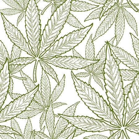 Patrón sin fisuras con hoja de marihuana. Elemento de diseño dibujado a mano cannabis. Ilustración de grabado de vector verde vintage para etiqueta, cartel, web. Aislado sobre fondo blanco
