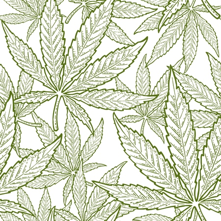 Seamless pattern with marijuana leaf. Hand drawn design element cannabis. Vintage green vector engraving illustration for label, poster, web. Isolated on white background