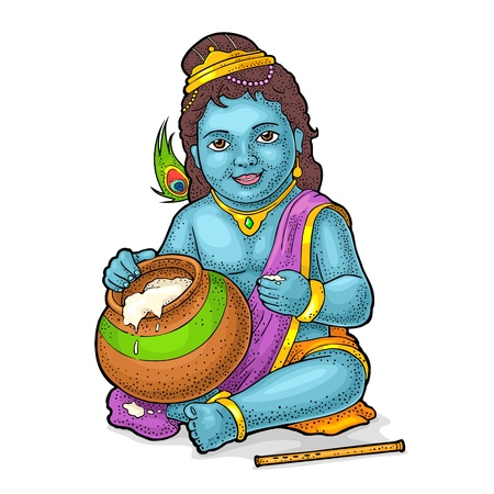 Sitting lord Krishna with pot and flute for poster Happy Janmashtami festival. Engraving vintage vector color illustration. Isolated on white background. Hand drawn design element Ilustração