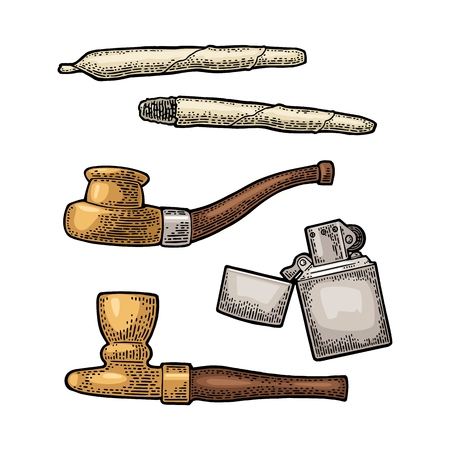 Cigarettes, pipe, lighter. Vintage black vector engraving illustration isolated on white background Archivio Fotografico - 104593310