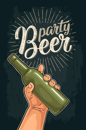 Man hand holding open green bottle. Beer party calligraphic handwriting lettering. Vintage vector color illustration for web, poster, invitation on dark background.