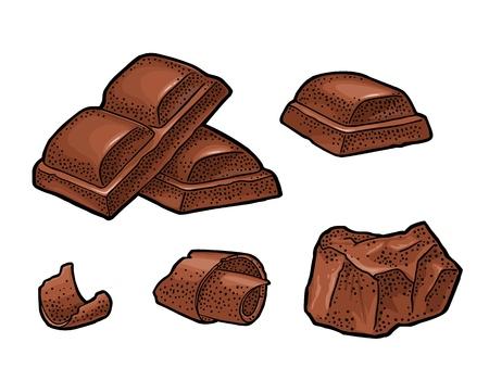 Schokoladenstück, Riegel und Rasur. Vektorweinlesefarbstichillustration. Isoliert auf weißem Hintergrund. Handgezeichnetes Gestaltungselement für Etikett und Poster Vektorgrafik