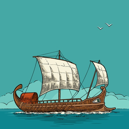 Trireme schwimmt auf den Meereswellen. Handgezeichnetes Design-Element-Segelschiff. Vintage-Farbvektor-Gravurillustration für Plakat, Aufkleber, Poststempel