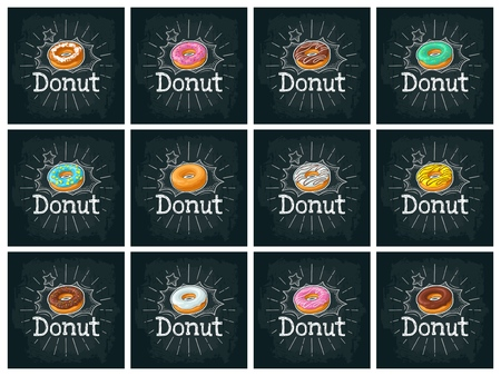 Set donut with different icing, glaze, stripes, sprinkles. Vector color flat illustration for poster, menu bakery shop. On black chalkboard with vintage white chalk engraving lettering, bubble