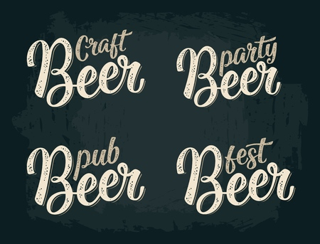 Craft Beer calligraphic lettering. Vector vintage illustration on dark