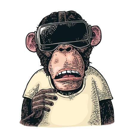 Affe mit Virtual-Reality-Headset und T-Shirt. Vintage Farbstichillustration für Poster. Isoliert auf weißem Hintergrund