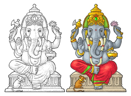 Ganpati with mouse for poster Ganesh Chaturthi. Engraving vintage vector color illustration. Isolated on white background. Hand drawn design element