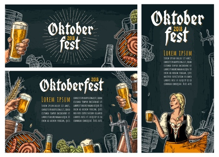 Set horizontal, vertical posters to oktoberfest festival. Beer tap, hop, barrel, barbecue, male hold glass and girl wearing Bavarian dress dirndl. Vintage vector engraving illustration on dark Vectores
