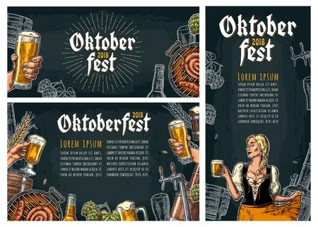 Ustaw poziome, pionowe plakaty na festiwal oktoberfest. Kran do piwa, chmiel, beczka, grill, mężczyzna trzymaj szklankę i dziewczyna ubrana w bawarską sukienkę dirndl. Vintage wektor Grawerowanie ilustracja na ciemnym