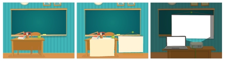 Set interior of classroom with desk, blackboard and multimedia projector. Vector flat color illustration isolated. Stock Illustratie