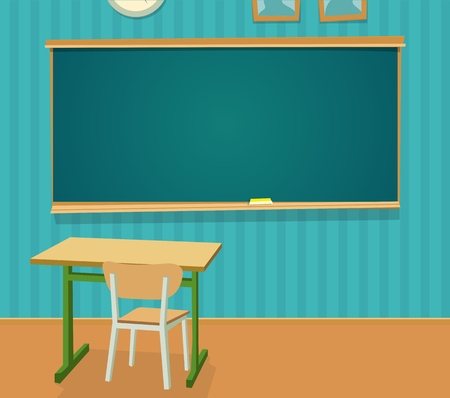 Interior of classroom with desk and blackboard. Vector flat color illustration isolated. Ilustração