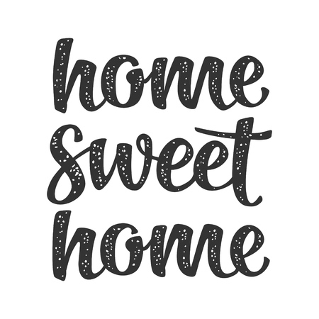 Home sweet home calligraphic handwriting lettering. Vector black illustration isolated on white background for for icon, mat, banner, print, textile, decor, poster, card