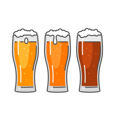 Glass with three types beer - light, red and porter. Color flat vector illustration. Isolated on white background.