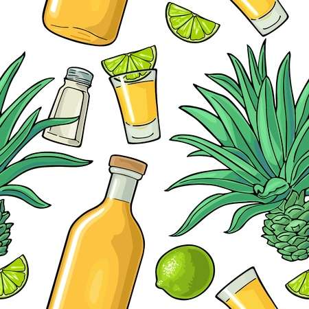 Seamless pattern of bottle, glass tequila, salt, cactus and slice lime on white background. Vintage color vector illustration for label, poster, web, invitation to party. Vector Illustration