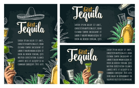 Three posters with hand holding glass, sombrero, bottle, salt, agave, lime whole and slice. Best Tequila lettering. Vintage color and white vector engraving illustration on dark background.