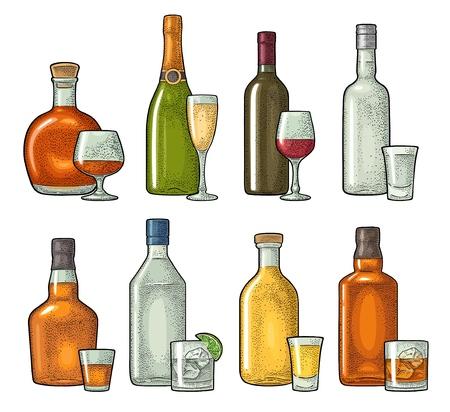 Ensemble verre et bouteille de whisky, vin, tequila, cognac, vodka, champagne, gin, rhum. Illustration vintage de couleur de gravure de vecteur isolée sur fond blanc Vecteurs