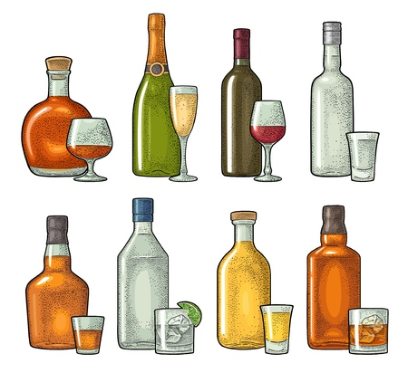 Set glass and bottle whiskey, wine, tequila, cognac, vodka, champagne, gin, rum. Vector engraving color vintage illustration isolated on white background