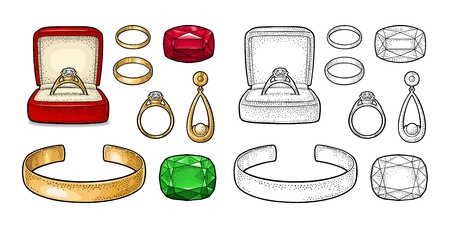 Set jewelry. Wedding ring with diamond in a gift box, earring with pearl, bracelet, emerald and ruby gem stone. Vintage color vector engraving illustration isolated on white background Foto de archivo - 114836579
