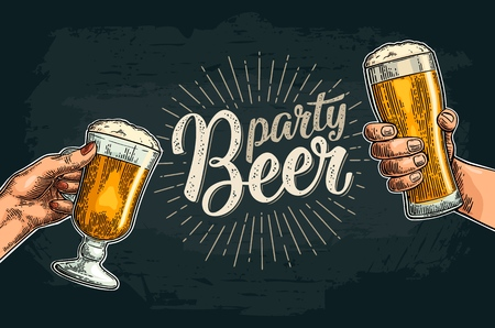 Male and female hands holding and clinking two glass. Beer party calligraphic handwriting lettering. Vintage vector color engraving for invitation. Isolated on dark background. Hand drawn design element