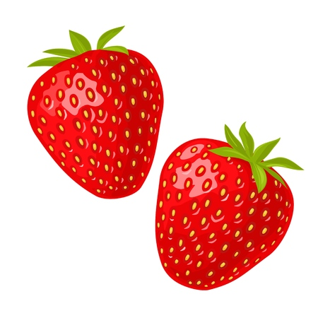 Whole and slice strawberry. Vector color flat illustration for menu, poster. Isolated on white background 矢量图像