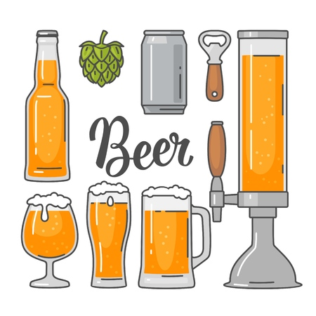 Beer vector flat icons set bottle, glass, barrel, pint
