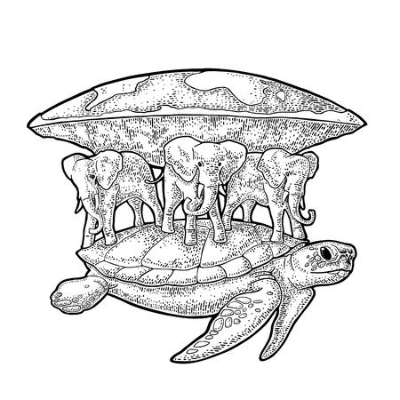 Elefantes y tortugas sosteniendo tierra plana. Grabado de la ilustración negra vintage.