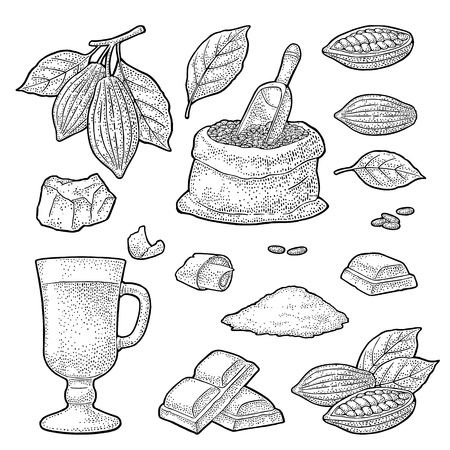 Chocolate piece, bar, shave. Fruits of cocoa with leaves and beans. Vector vintage black engraving illustration. Isolated on white background. Hand drawn design element for label and poster Foto de archivo - 114786028