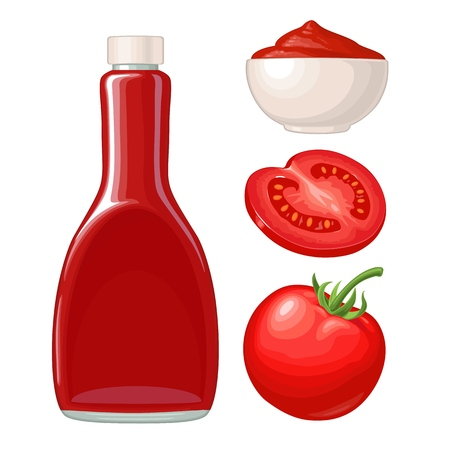Ketchup bottle, tomato sauce in a plate, whole and slice tomatoes. Vector flat color illustration. Isolated on white background. Illusztráció