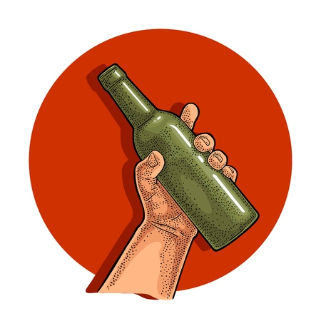 Man hand holding open beer bottle. Vintage vector color engraving illustration for web, poster, invitation to party. Isolated on red circle.